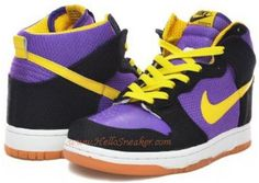 http://www.asneakers4u.com 324759 071 Nike Dunk High Supreme Lakers Spring 2010 Yellow Black Purple K031172