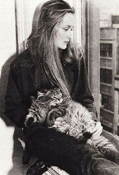 Meryl Streep and a cat