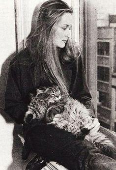 Meryl Streep and a cat