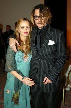 #JohnnyDepp #VanessaParadis backstage at the 2004 Critics' Choice Awards. #cute #celebrity #couple #retro