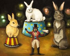 Taming Of The Giant Bunnies Painting by Leah Saulnier The Painting Maniac - Taming Of The Giant Bunnies Fine Art Prints and Posters for Sale