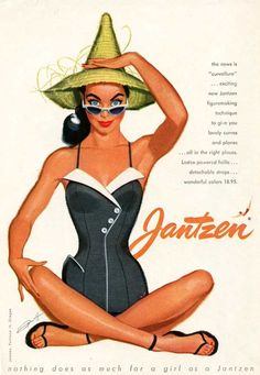 Jantzen swimwear vintage ad, 1950s Illustration by Pete Hawley  bathing suit