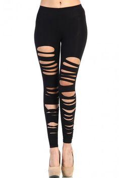 Ripped Leggings - Black