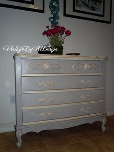 Sold - Custom Request Hand Painted French Provincial Chest of Drawers - Sara
