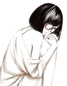 anime girl black and white Manga Anime, Manga Girl, Anime Girls, Short Hair Glasses, Cool Pencil Drawings, Art Drawings, Anime Monochrome, Cute Profile Pictures, Girl Sketch