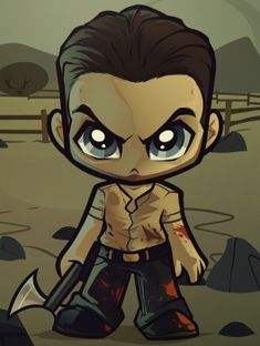 How To Draw Chibi Rick Grimes, The Walking Dead by Dawn Walking Dead Drawings, Walking Dead Zombies, Walking Dead Memes, The Walking Dead Tv, Carl Grimes, Movies Wallpaper, Walking Dead Characters, Online Drawing, Chibi Characters
