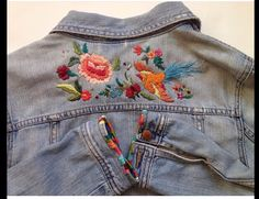 Embroidery On Clothes, Folk Embroidery, Hand Embroidery Stitches, Handmade Clothes, Diy Clothes, Embroidered Denim Jacket, Painted Clothes, Crochet Fashion, Denim Fashion