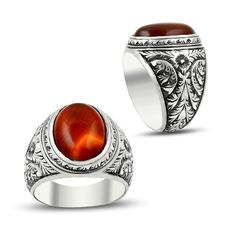 Hand Made Red Aqeeq Ring by Boutique Ottoman Turkish jewelry online store. Made in Turkey silver men rings with aqeeq stone. Free worldwide delivery!