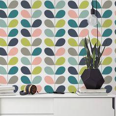 Mid Century Leaves - Wallpaper - Mid Century Modern - Removable Wallpaper - Peel & Stick - Self Adhesive Fabric - SKU: MCLE