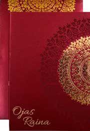 Exclusive Royal Maroon Color Designer Wedding Cards from http://www.theweddinginvitationcards.com