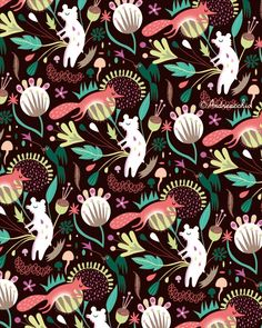 Happy ? Mitou ! Illustration Blog !!!!: Forest Pattern !!! :)