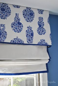 not this fabric but cornice board and shade for bathroom