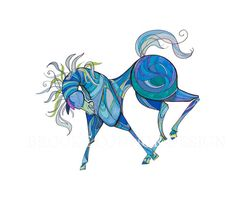 Mustang Sally the Wild Blue Horse Blank 5x7 by BrookeConnorDesign