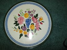 Vintage Hand Painted Stangl Country Garden Design 10-14 Center Handle Serving Tray Plate  Platter