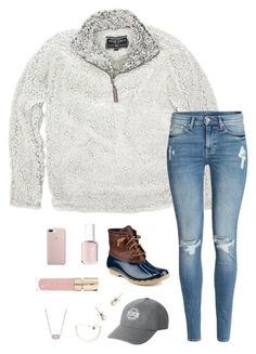 """""""January❄️"""" by chance16 ❤ liked on Polyvore featuring True Grit, H&M, Sperry, Essie, Victoria's Secret, J.Crew, Pura Vida, Kendra Scott and Smith & Cult"""