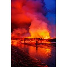 Woman watching the lava flow at the Holuhraun Fissure eruption near Bardarbunga Volcano Iceland Canvas Art - Panoramic Images (36 x 12)