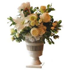 """Faux lily, rose, and hydrangea arrangement in a vermeil vase. Made in the USA.  Product: Faux floral arrangementConstruction Material: Plastic, silk and vermeilColor: Green and ivoryDimensions: 24"""" H x 19"""" Diameter"""