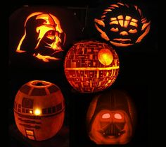 star wars pumpkins Please don't let my husband see this. He will be asking me to carve these next year.