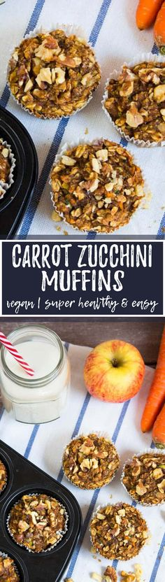 These vegan carrot zucchini muffins are such a great and healthy treat! These are seriously one of the best vegan muffins I've ever had! Sweet, healthy, moist, and hearty at the same time!! I absolutely love this vegan recipe! <3 | veganheaven.org