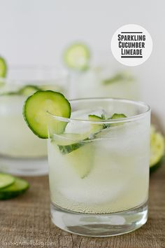Sparkling Cucumber Limeade Combine 1 cup sugar, 1 TBLlime zest & 1 cup water in a saucepan heating until sugar disolves.  Add 1/4 cup fresh mint leaves and cool 30 mins Strain mixture and combine with 1 cup lime juice & 1 medium English cucumber, halved and thinly sliced and chill for 1 hr.  When ready to serve add to 2 cups chilled sparkling water and serve over ice