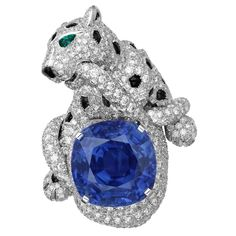 Cartier - Platinum Panthère ring with diamonds, emeralds, onyx and a cushion-cut Ceylon sapphire. Photo courtesy press office