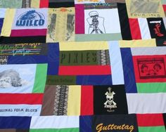 Memory quilt made from all your favorite old t-shirts! Such a great idea! Would make a great toddler bed blanket made from all those cute baby outfits too!
