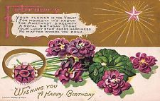 Birthday Greeting Postcard February Violet Flowers & Amethyst Birthstone~108447
