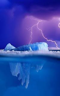 Alaska ~ Glaciers, Lightning & heavy dark clouds