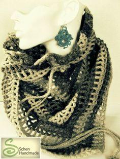 Grey crochet scarf