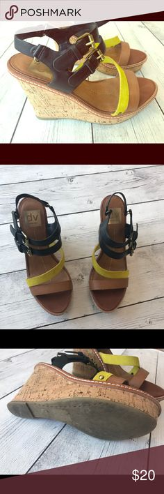 Dolce Vita Wedges Dolce Vita wedges in yellow, black and tan leather. Some wear on soles as pictured. Dolce Vita Shoes Wedges