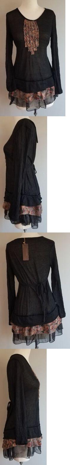 Women Fashion: Nwt John Fashion Black Floral Ruffle Long Sleeve Tunic Top Women S Size Xl M L -> BUY IT NOW ONLY: $39.99 on eBay!