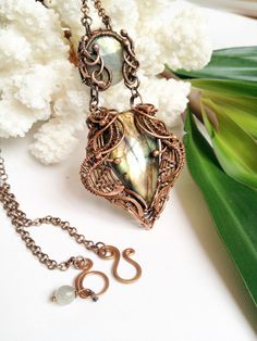 Wire wrapped necklace Labradorite necklace Labradorite pendant