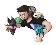 Aeroire on DeviantArt is amazing. Jordan Maron (CaptainSparklez) with Minecraft: Modded Survival pets.