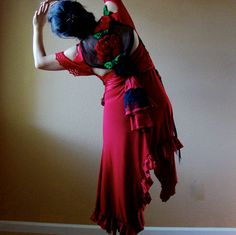 Poppy Red altered couture flamenco dress cut-out shoulders roses black lace on Etsy, $105.00