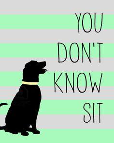 You Don't Know Sit black labrador digital art print 8x10