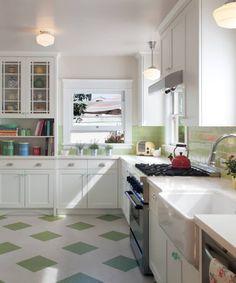 Vct Tile, Linoleum Flooring, Tile Floor, Floors, Modern Retro Kitchen, Vintage Kitchen, 1950s Kitchen, Kitchen Tiles, Kitchen Flooring