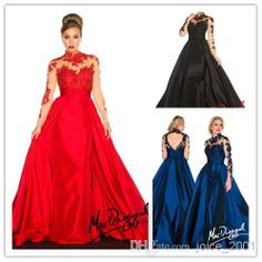 Wholesale Beaded Evening Gown - Buy Mac Duggal 2014 Spring High Neck Sheer Lace Long Sleeve Red Carpet Celebrity Dresses Backless Ball Gown Formal Evening Dresses MC1403, $149.0 | DHgate