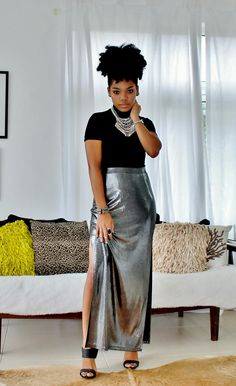 silver skirt, summer outfit, black girl, afro hair, black womens inspiration, natural hair, fashion, street style