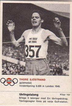 Tore sjöstrand bilder | GULF Samlarbilder. Guld på 3.000 meter hinder i London OS 1948.