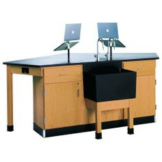 "Forward Vision Four Student Workstation, Door/Drawer Cabinet, End Sink with LabHands by Diversified Woodcrafts. $3645.99. This classroom-oriented Student Science Table and Workstation enables four students to work at a single station as they all face the teacher. The countertop surface is 1"" epoxy resin and resists the heat and harmful chemicals that can do damage during science class. Available lab fixtures and additions including a sink, water-gas fixtures, lap..."