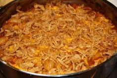 "Crunchy Beef and Onion Casserole  the ""crunch"" comes from french fried onions on top!"