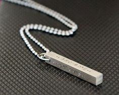 Men's Steel Bar Necklace - Hand Stamped Pendant - Personalized Jewelry - Men's G. Braided Bracelets, Bracelets For Men, Fashion Bracelets, Fashion Jewelry, Bracelet Men, I Love Jewelry, Jewelry Design, Man Jewelry, Designer Jewelry