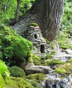 Fairy house made of rocks