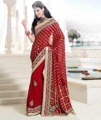 Reddish mahroon colour, gajji silk charchola pallu with Jamewar shoulder and georgette pallu material designer handwork #saree #sari.