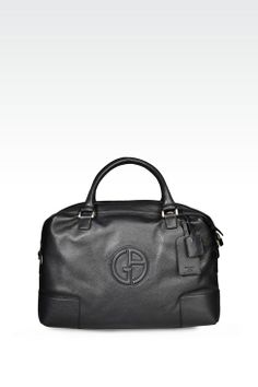 Giorgio Armani Men Travel Bag - WEEKEND BAG IN TUMBLED LEATHER WITH LOGO Giorgio  Armani Official 49037b3ccc