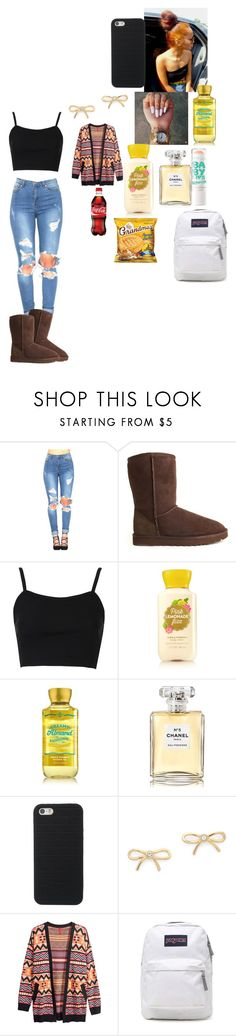 """""""School outfit"""" by foodislyfe ❤ liked on Polyvore featuring UGG Australia, Topshop, Chanel, Kate Spade, Maybelline, H&M and JanSport"""