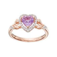 14k Rose Gold Over Silver Amethyst & Lab-Created White Sapphire Heart Halo Ring