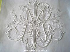 ⌖ Linen & Lace Luxuries ⌖ monogram M E on antique linen Embroidery Monogram, White Embroidery, Embroidery Stitches, Embroidery Patterns, Hand Embroidery, Machine Embroidery, Monogram Design, Monogram Initials, Monogram Letters