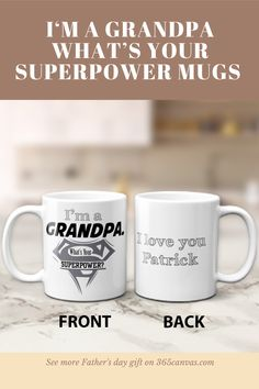 """Superheroes don't always fly or wear capes and suits. Sometimes, they watch us grow and help us turn into good, humble people. This task is essential and deserves appreciation. The """"I'm a Grandpa. What's Your Superpower?"""" mugs are a fantastic gift for the grandpa who has your back. #fathersdaygift #giftforgrandpa #grandpagift #365canvas Cool Fathers Day Gifts, Grandpa Gifts, Great Gifts, Personalized Gifts For Dad, Superpower, Dad Birthday, Good Good Father, Favorite Person, You Are The Father"""