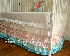 Ready To Ship. Teal and Pink 6 Tiered, Ruffled Crib Skirt. Bumperless Crib Bedding. Free Shipping For This Item.